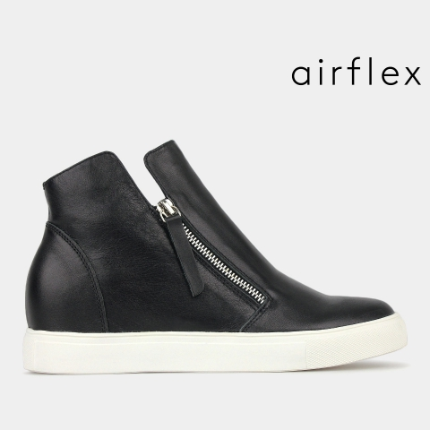 STUNNER Leather Wedge Sneakers