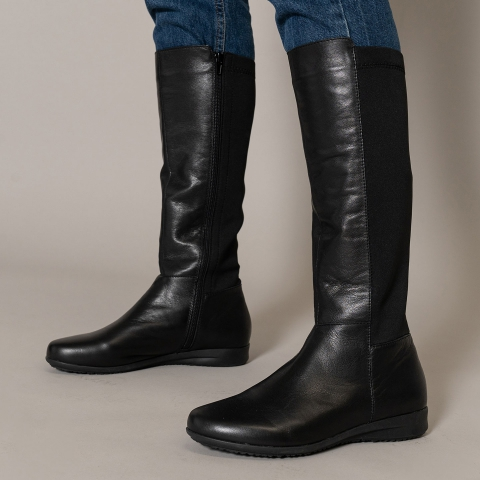 CRYSTAL Leather Calf-Height Boots